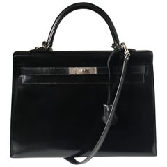 Hermes Kelly 35cm Collector Black Box Palladium Guilloche Hardware Q Stamp
