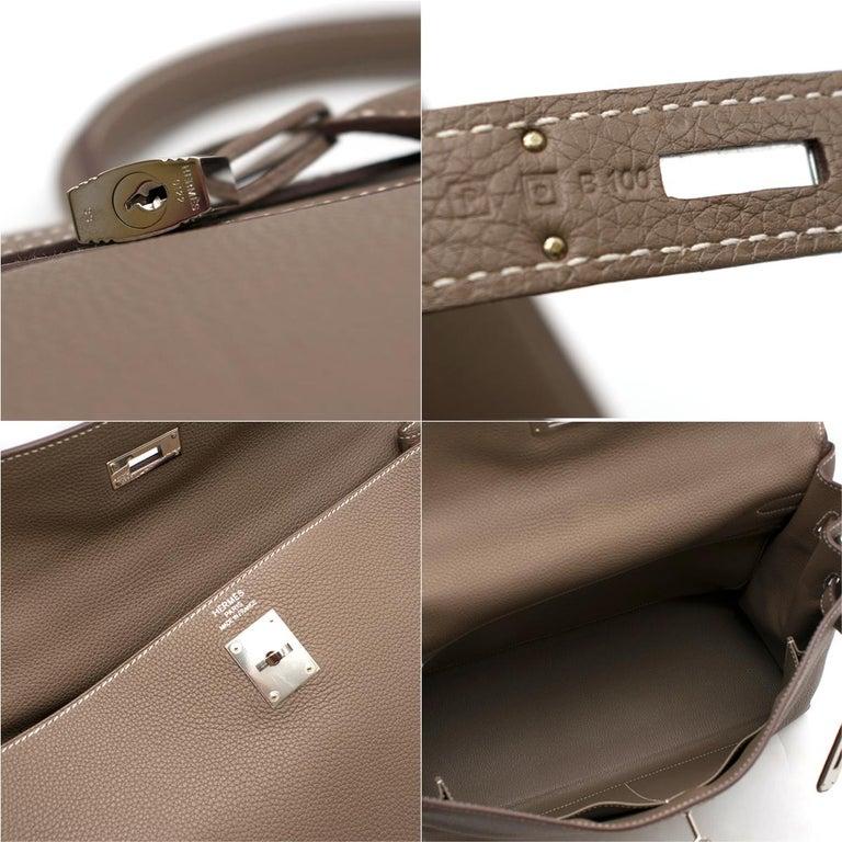 Hermes Kelly 35cm Etoupe Togo leather bag For Sale 6