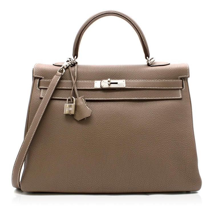 Brown Hermes Kelly 35cm Etoupe Togo leather bag For Sale