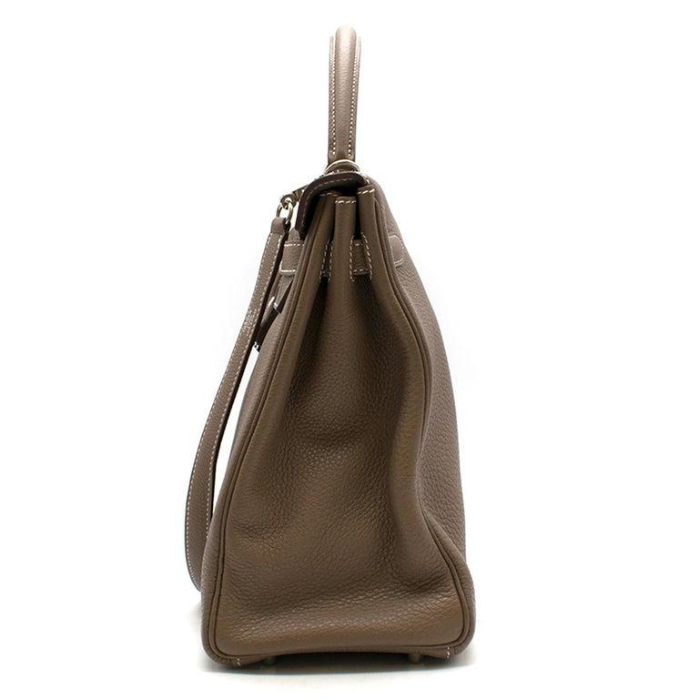 Hermes Kelly 35cm Etoupe Togo leather bag For Sale 1