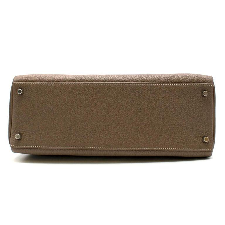 Hermes Kelly 35cm Etoupe Togo leather bag For Sale 2