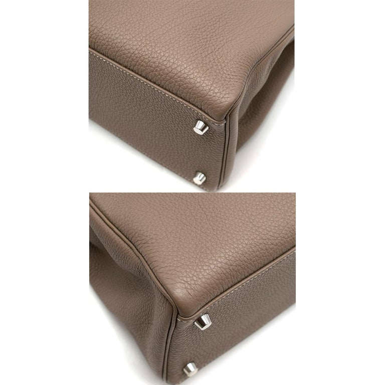 Hermes Kelly 35cm Etoupe Togo leather bag For Sale 3