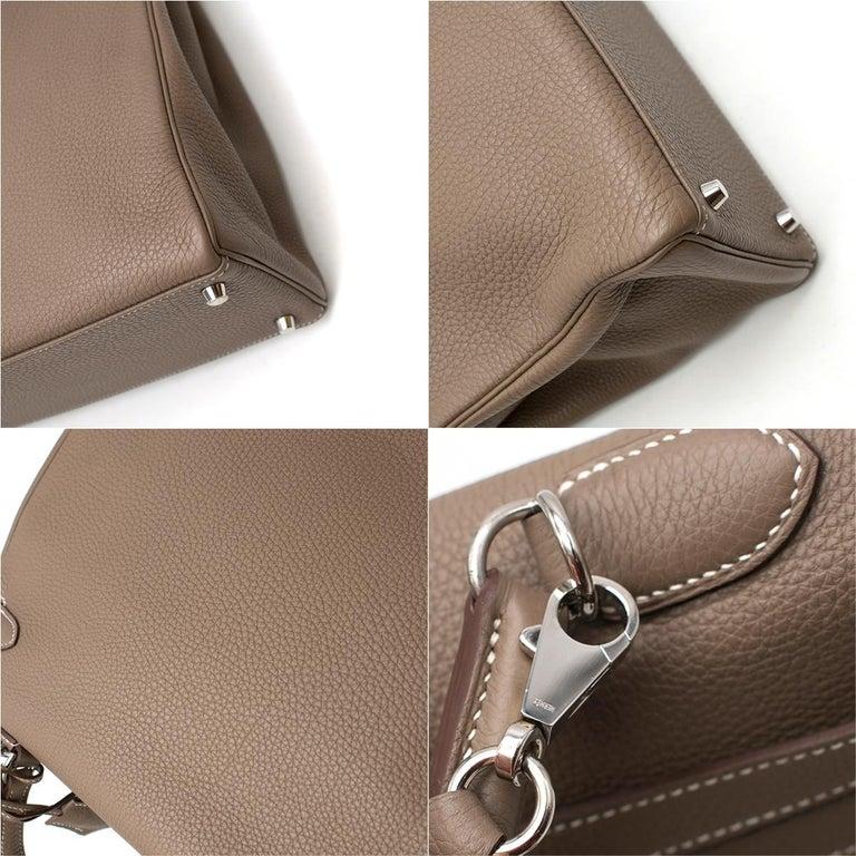 Hermes Kelly 35cm Etoupe Togo leather bag For Sale 4