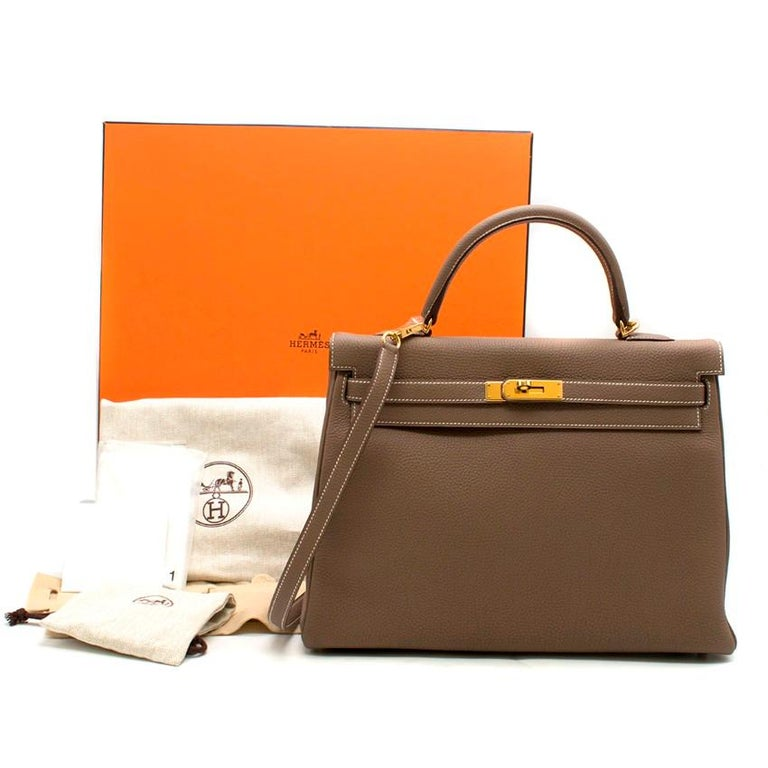 2d20c6acfa3 Hermes Kelly 35cm Etoupe Togo leather bag - Serial Number   P  - Age
