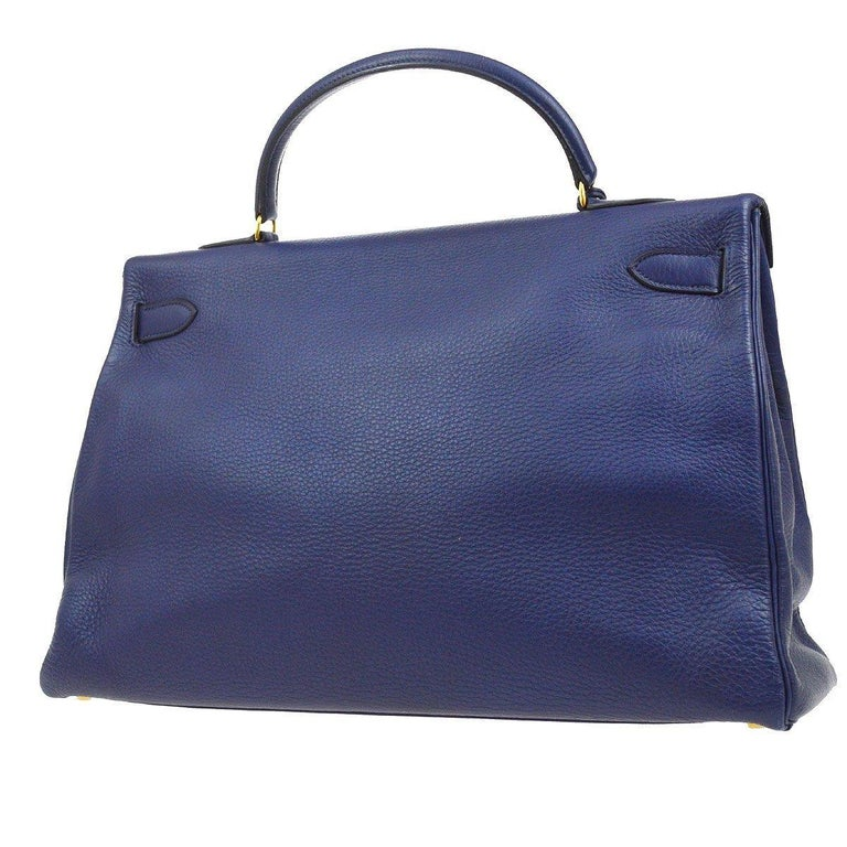 Hermes Kelly 40 Blue Leather Gold Top Handle Satchel Shoulder Tote Bag  In Good Condition For Sale In Chicago, IL