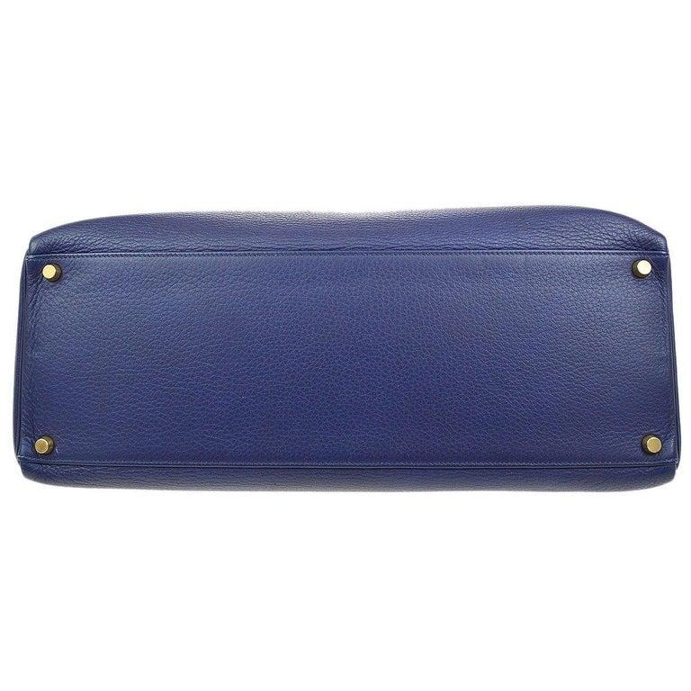 Women's Hermes Kelly 40 Blue Leather Gold Top Handle Satchel Shoulder Tote Bag  For Sale