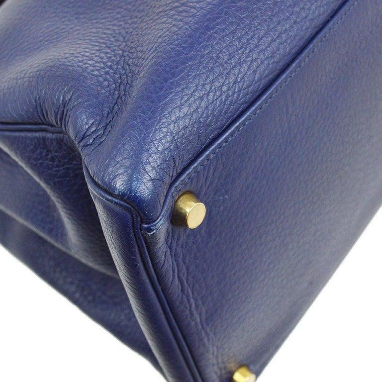 Hermes Kelly 40 Blue Leather Gold Top Handle Satchel Shoulder Tote Bag  For Sale 1
