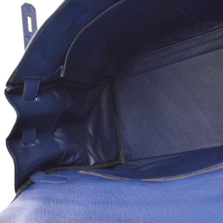 Hermes Kelly 40 Blue Leather Gold Top Handle Satchel Shoulder Tote Bag  For Sale 2