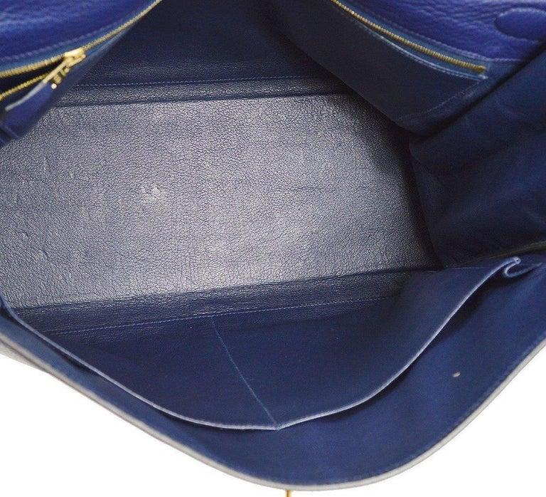 Hermes Kelly 40 Blue Leather Gold Top Handle Satchel Shoulder Tote Bag  For Sale 3