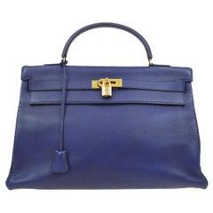 Hermes Kelly 40 Blue Leather Gold Top Handle Satchel Shoulder Tote Bag