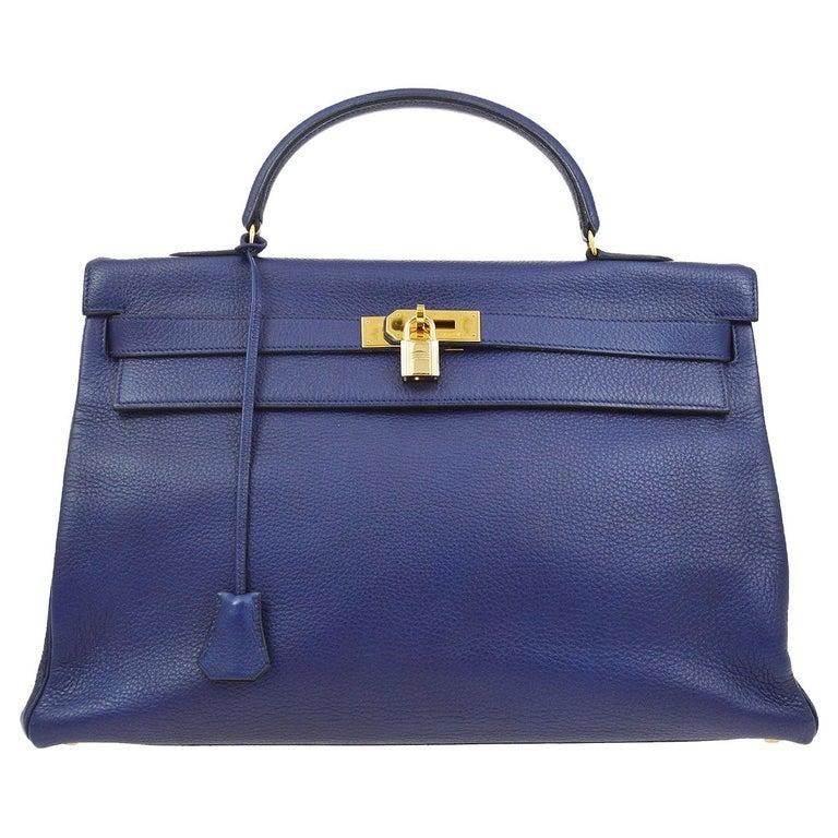 Hermes Kelly 40 Blue Leather Gold Top Handle Satchel Shoulder Tote Bag  For Sale