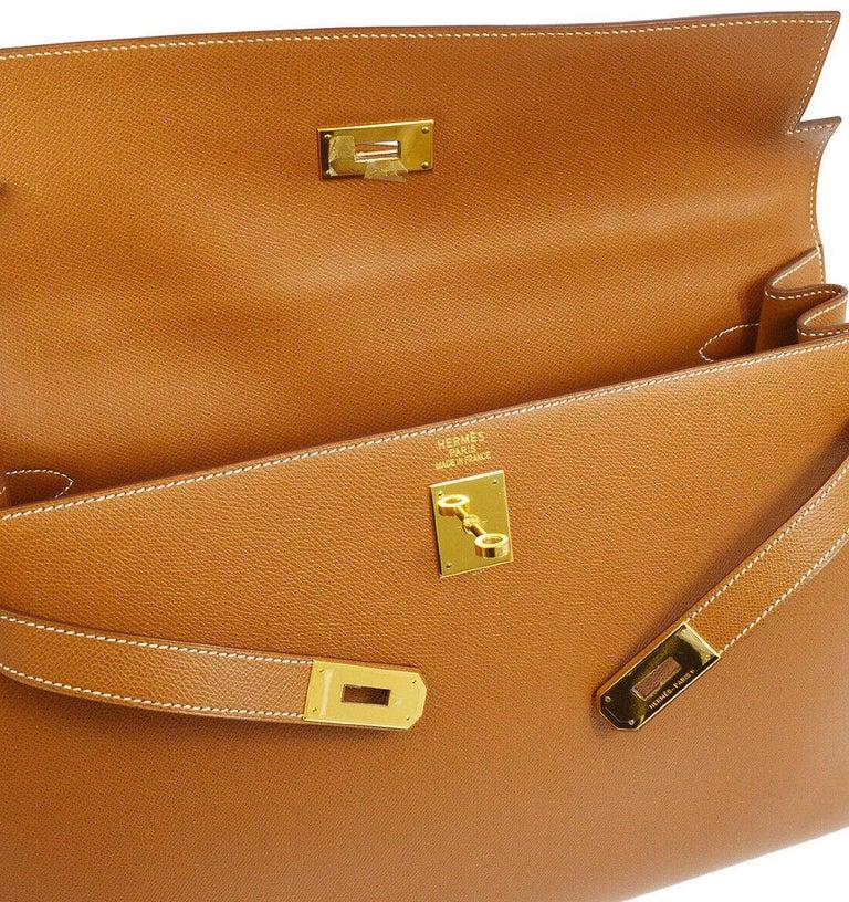 Brown Hermes Kelly 40 Cognac Leather Gold Top Handle Satchel Shoulder Tote Bag