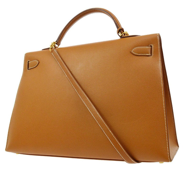 Hermes Kelly 40 Cognac Leather Gold Top Handle Satchel Shoulder Tote Bag In Excellent Condition In Chicago, IL