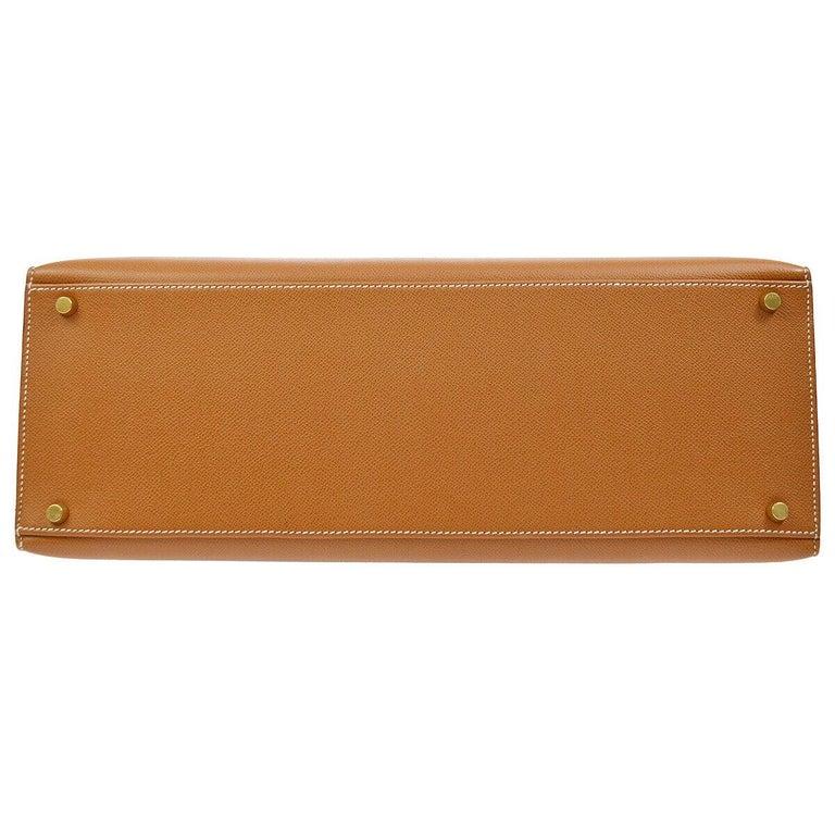 Women's Hermes Kelly 40 Cognac Leather Gold Top Handle Satchel Shoulder Tote Bag