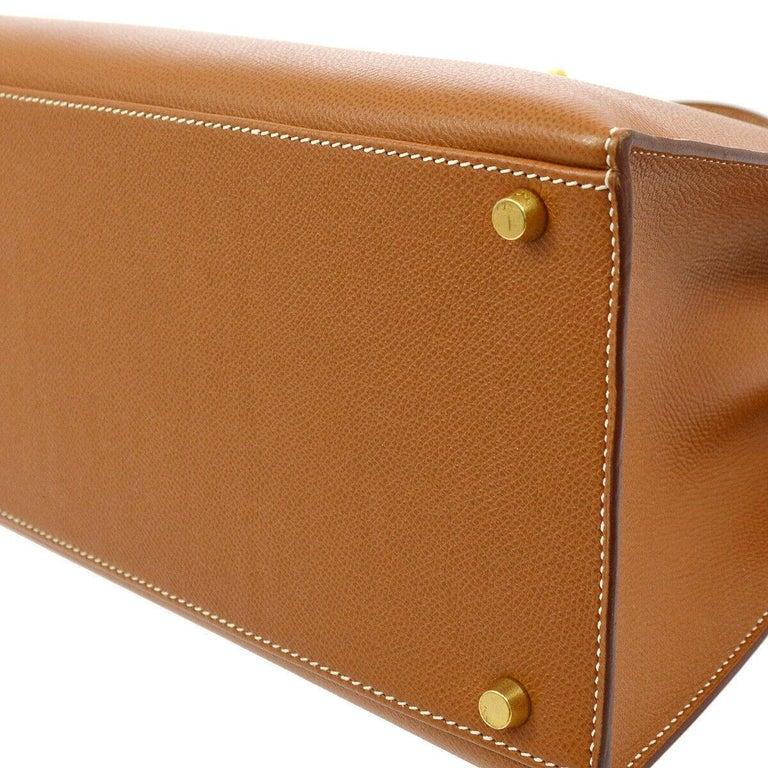 Hermes Kelly 40 Cognac Leather Gold Top Handle Satchel Shoulder Tote Bag 1