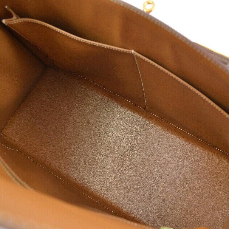 Hermes Kelly 40 Cognac Leather Gold Top Handle Satchel Shoulder Tote Bag 2