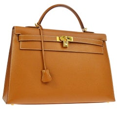 Hermes Kelly 40 Cognac Leather Gold Top Handle Satchel Shoulder Tote Bag