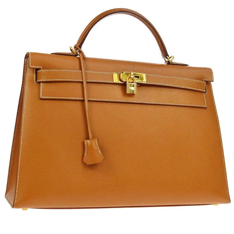 Hermes Kelly 40 Cognac Leather Gold Top Handle Satchel Shoulder Tote Bag