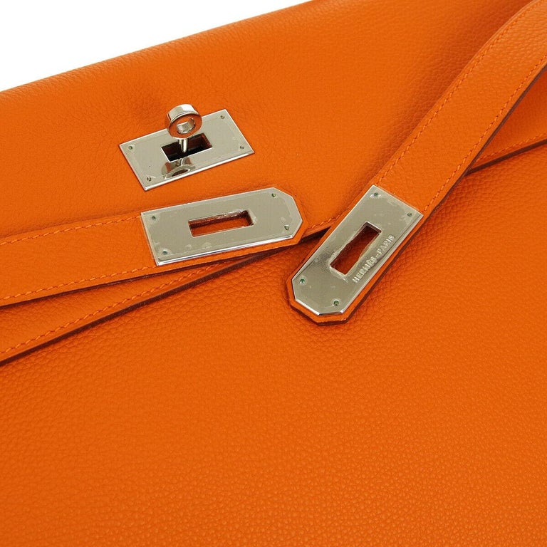 Hermes Kelly 40 Orange Togo Leather Palladium Top Handle Satchel Shoulder Tote Bag  Leather Palladium tone hardware Leather lining Date code present Made in France Handle drop 4