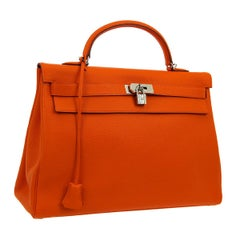 Hermes Kelly 40 Orange Leather Palladium Top Handle Satchel Shoulder Tote Bag