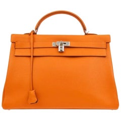 Hermes Kelly 40 Orange Leather Top Handle Satchel Carryall Tote Flap Bag
