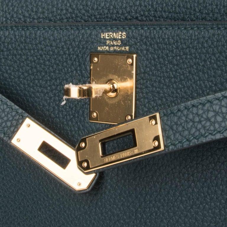 Black Hermes Kelly Ado II Backpack Vert Cypress Gold Hardware New For Sale