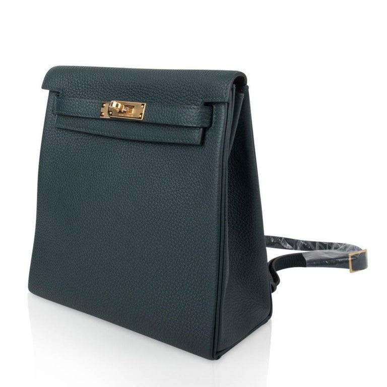 Hermes Kelly Ado II Backpack Vert Cypress Gold Hardware New For Sale 1