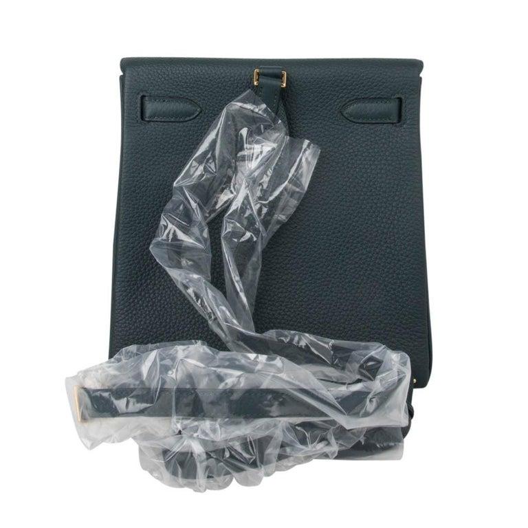 Hermes Kelly Ado II Backpack Vert Cypress Gold Hardware New For Sale 3