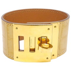 Hermes Kelly Alligator Crocodile Exotic Leather Gold Men's Women's Cuff Bracelet