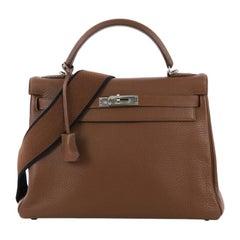 Hermes Kelly Amazone Handbag Marron d'Inde Clemence with Palladium Hardware 32