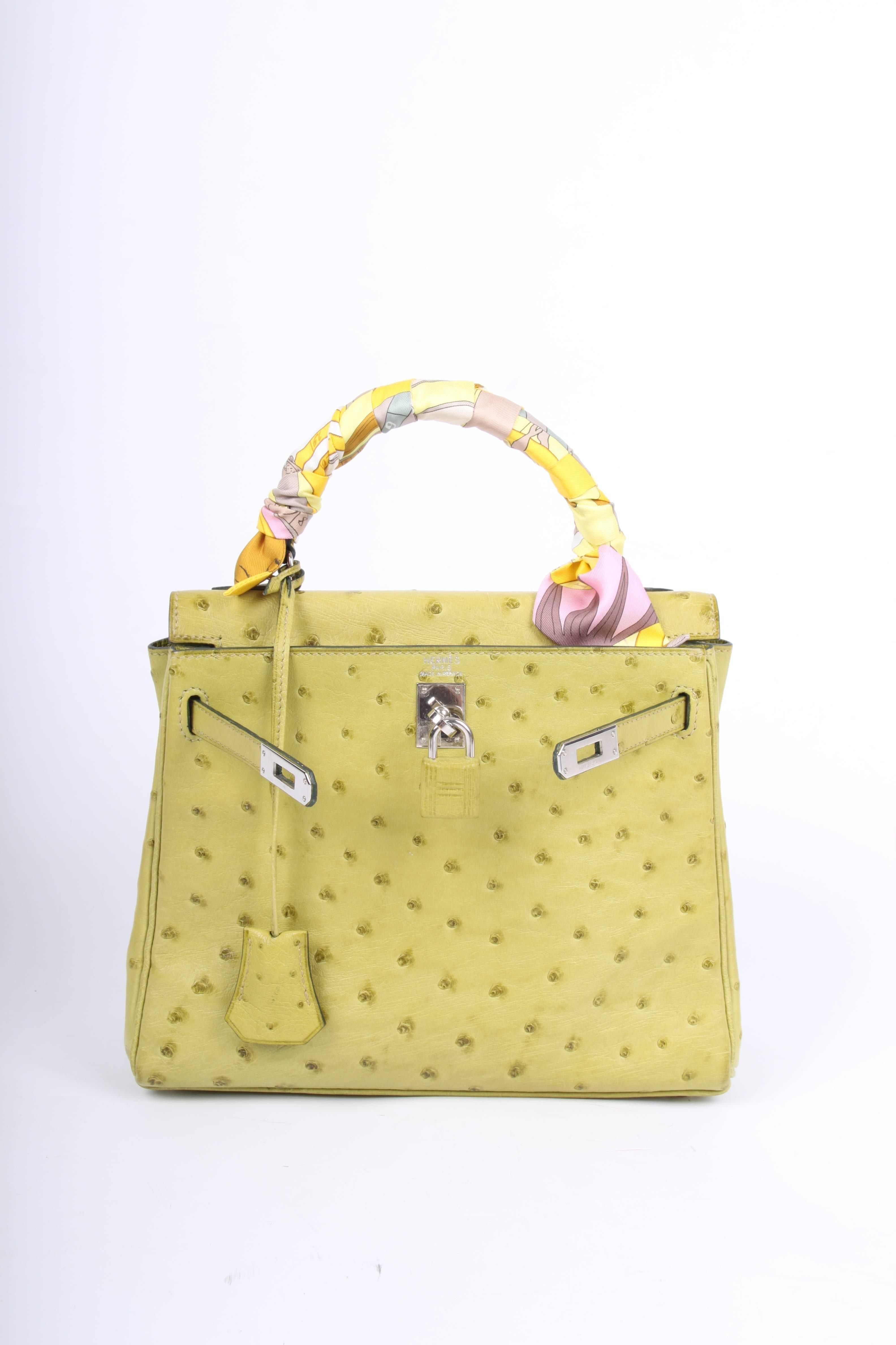 Hermes lime green 25 Ostrich Leather Kelly Bag at 1stdibs bdf3bdc618c4e
