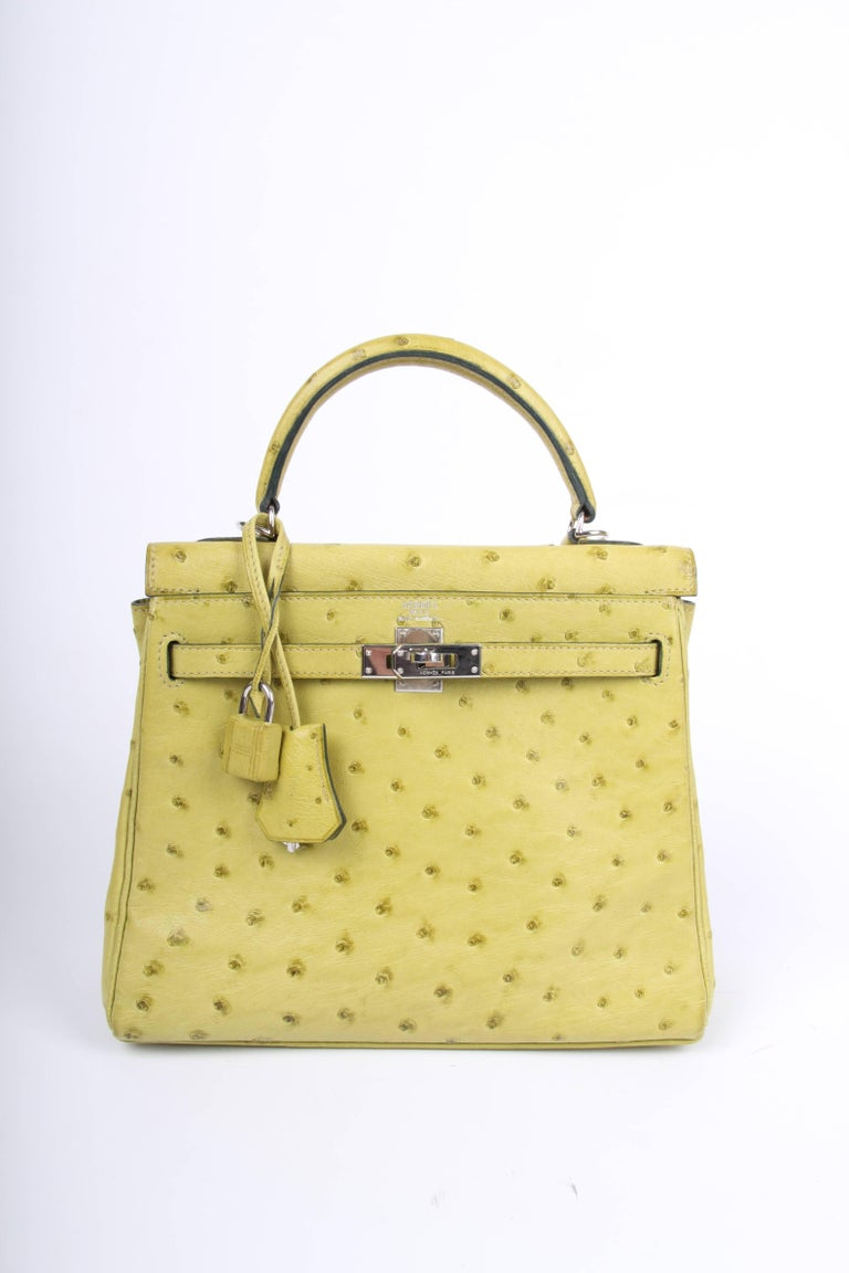 826b0c7b49 Green Hermes lime green 25 Ostrich Leather Kelly Bag For Sale