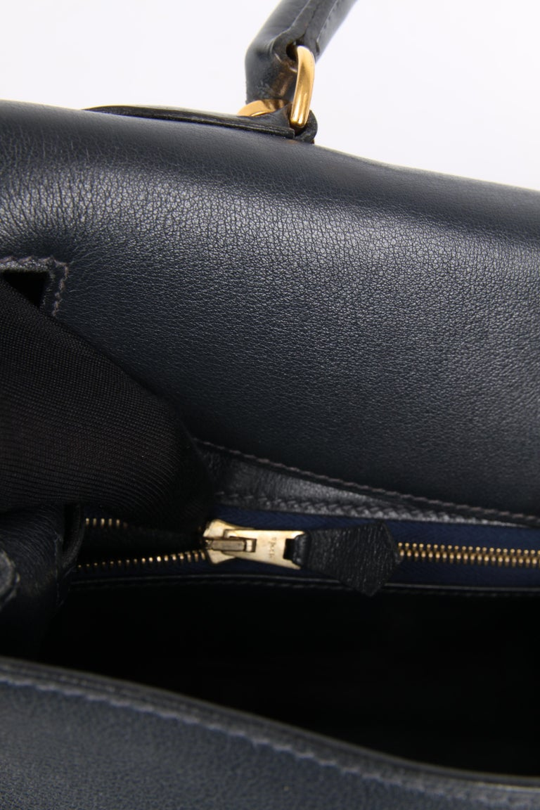 Hermès Kelly Bag 32 Swift Leather - dark blue For Sale 6