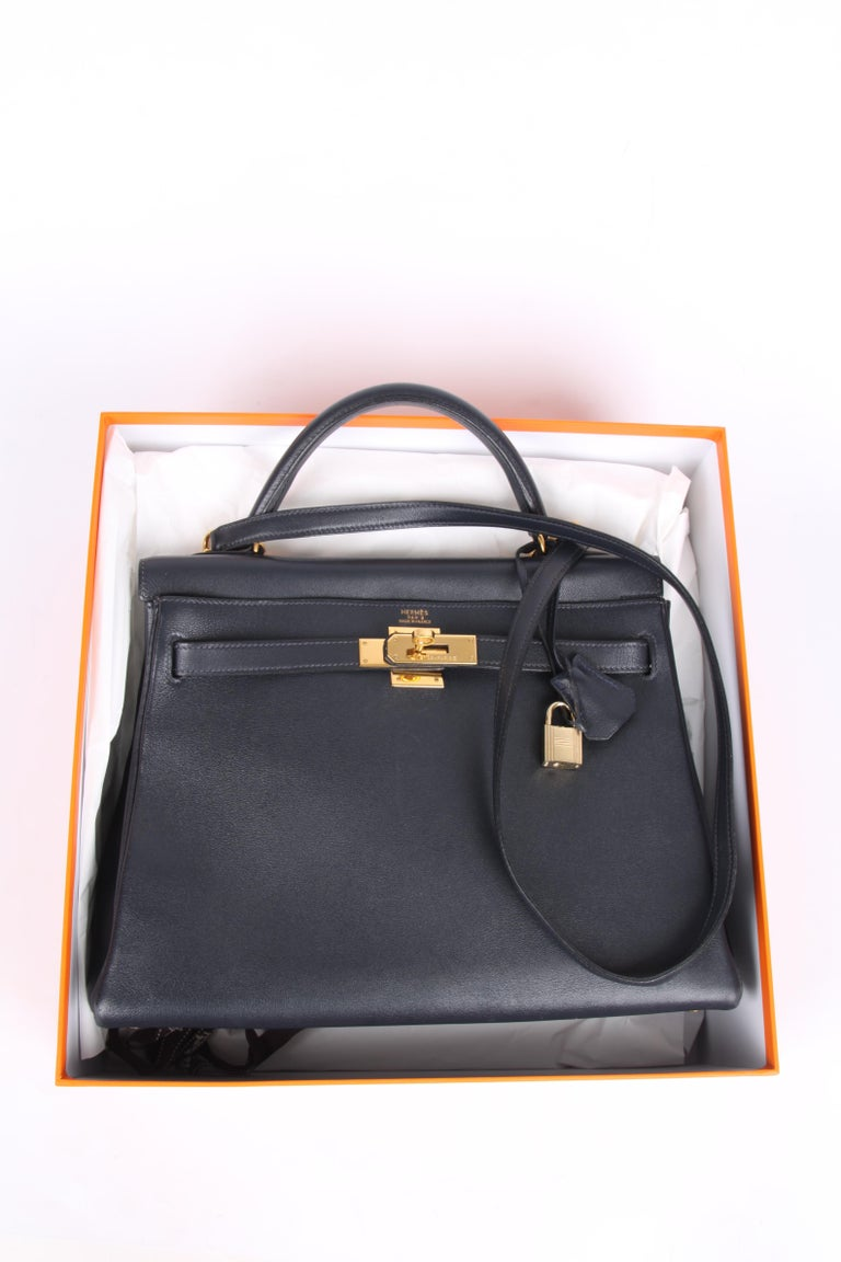 Hermès Kelly Bag 32 Swift Leather - dark blue For Sale 7