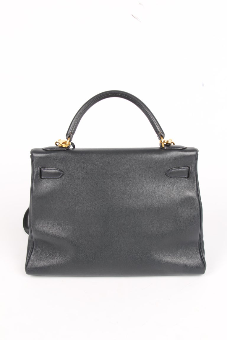 Hermès Kelly Bag 32 Swift Leather - dark blue In Good Condition For Sale In Baarn, NL