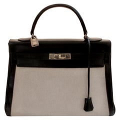 Hermes Kelly Bag 32cm Canvas with Black Gulliver Leather Trim Classic Vintage