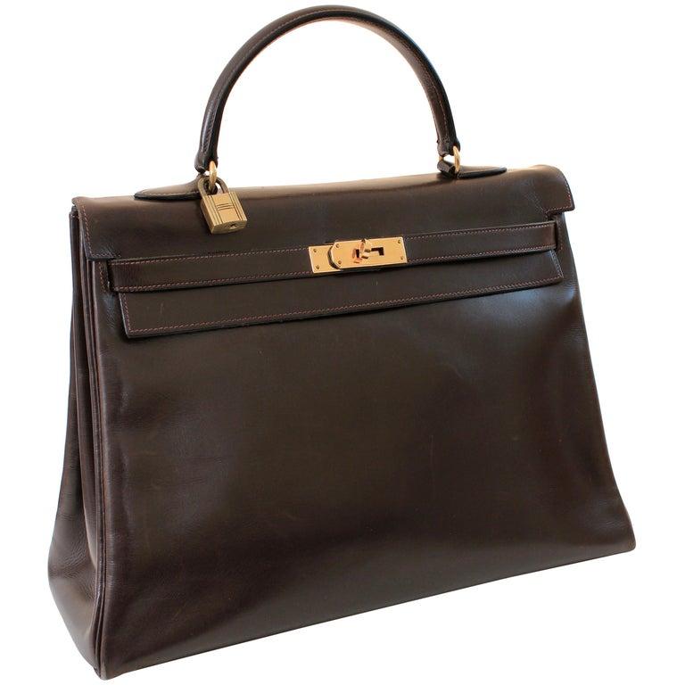 Hermes Kelly Bag 35cm Retourne Sac a Depeches Brown Box Leather Vintage  For Sale