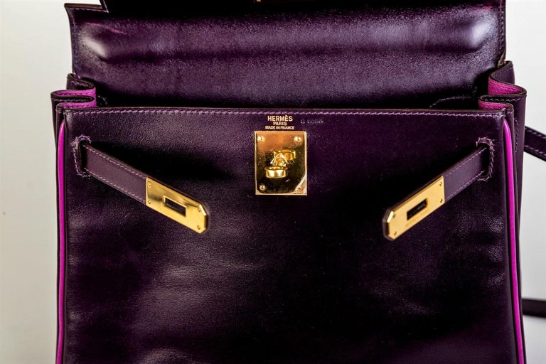 HERMES KELLY BAG box calf 28 cm purple/pink special edition gold hardware 2004   For Sale 5