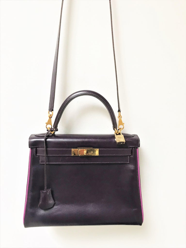 HERMES KELLY BAG box calf 28 cm purple/pink special edition gold hardware 2004   For Sale 6