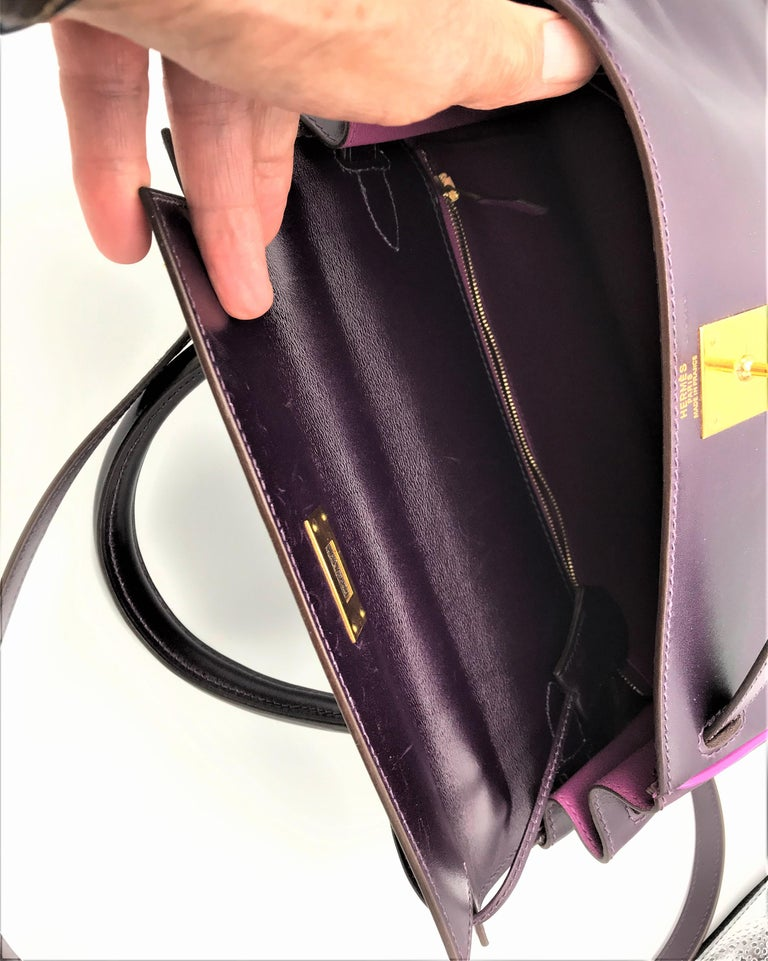Women's HERMES KELLY BAG box calf 28 cm purple/pink special edition gold hardware 2004   For Sale