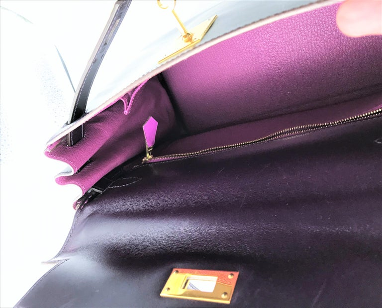 HERMES KELLY BAG box calf 28 cm purple/pink special edition gold hardware 2004   For Sale 1