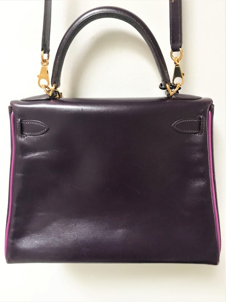 HERMES KELLY BAG box calf 28 cm purple/pink special edition gold hardware 2004   For Sale 2