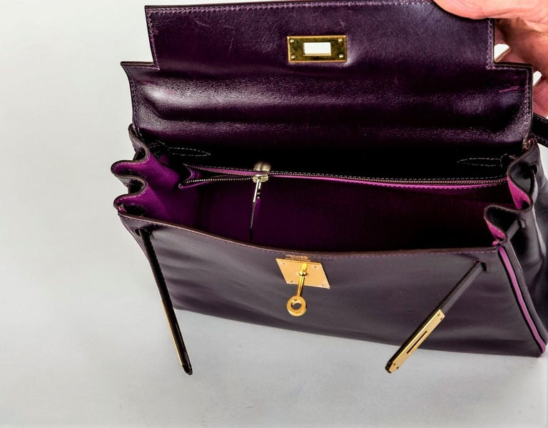 HERMES KELLY BAG box calf 28 cm purple/pink special edition gold hardware 2004   For Sale 3