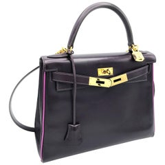 HERMES KELLY BAG box calf 28 cm purple/pink special edition gold hardware 2004