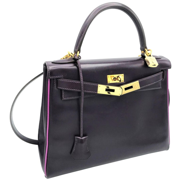 HERMES KELLY BAG box calf 28 cm purple/pink special edition gold hardware 2004   For Sale