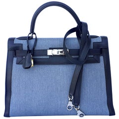 Hermès Kelly Bag Denim Jean Toile and Blue Leather Phw 32 cm RARE