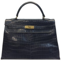 Hermes Kelly Black Alligator Skin Handbag