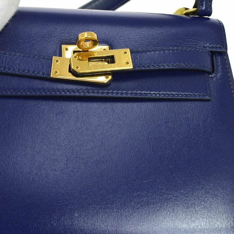 Hermes Kelly Mini Blue Gold Small Leather Evening Shoulder Flap Bag in Box  Leather Gold tone hardware Made in France Date code present Shoulder drop 9