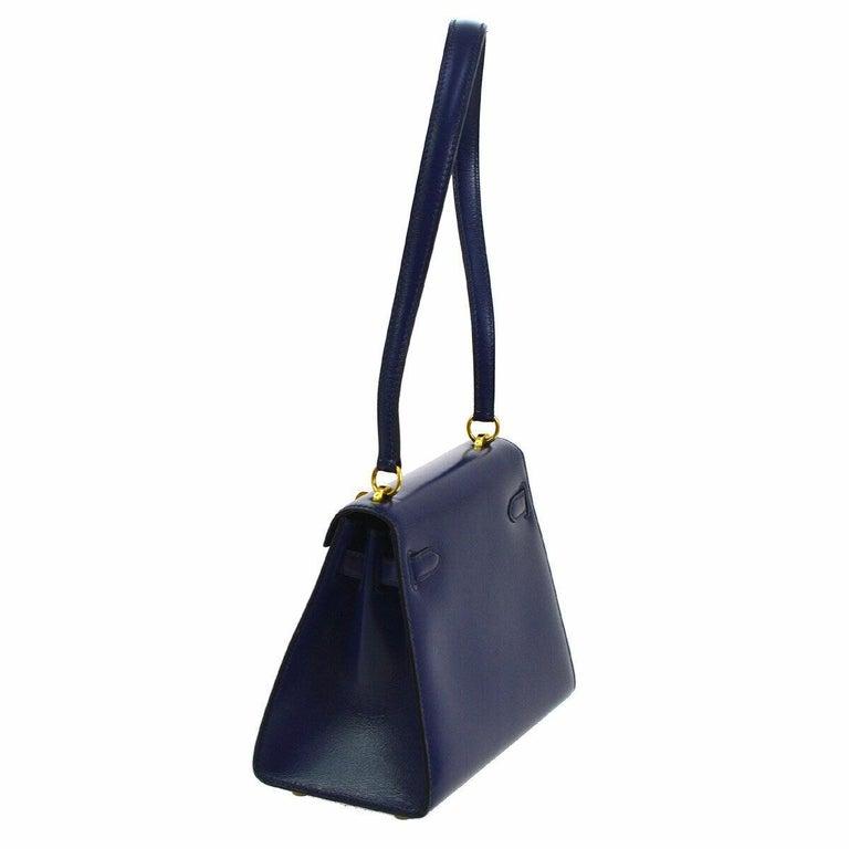 Black Hermes Kelly Blue Leather Gold Small Evening Shoulder Flap Bag in Box For Sale