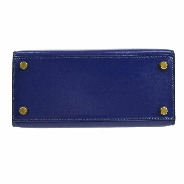 Hermes Kelly Blue Leather Gold Small Evening Shoulder Flap Bag in Box In Good Condition For Sale In Chicago, IL